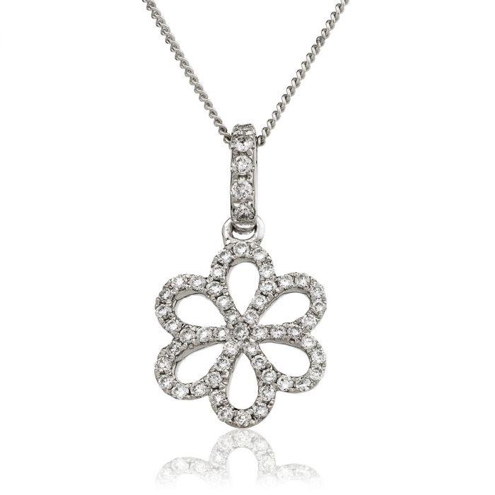 Flower Shape Open Micro Set Diamond Pendant