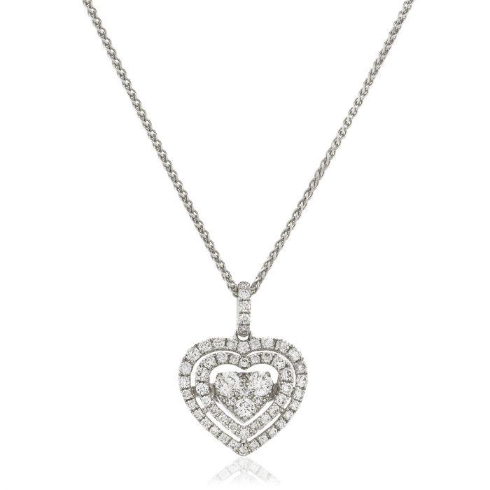 Double Halo Heart Diamond Pendant