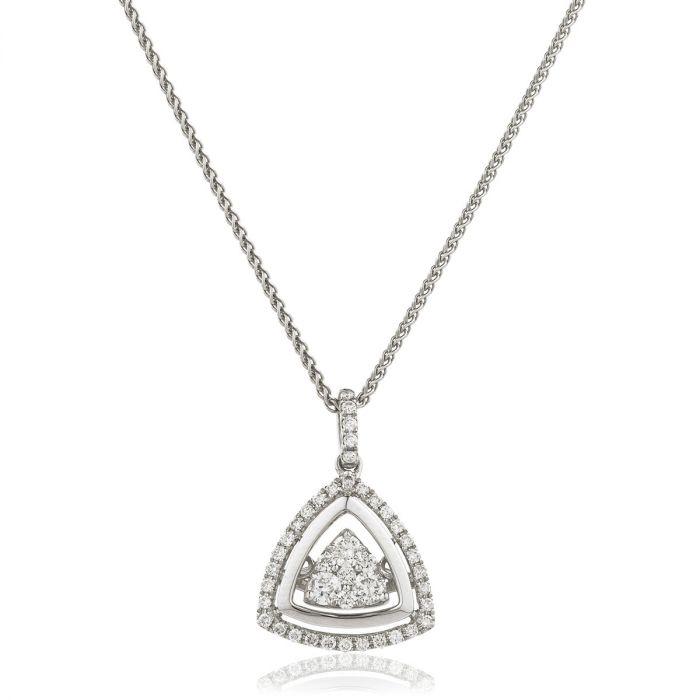 Triangle Shaped Outer Halo Diamond Pendant