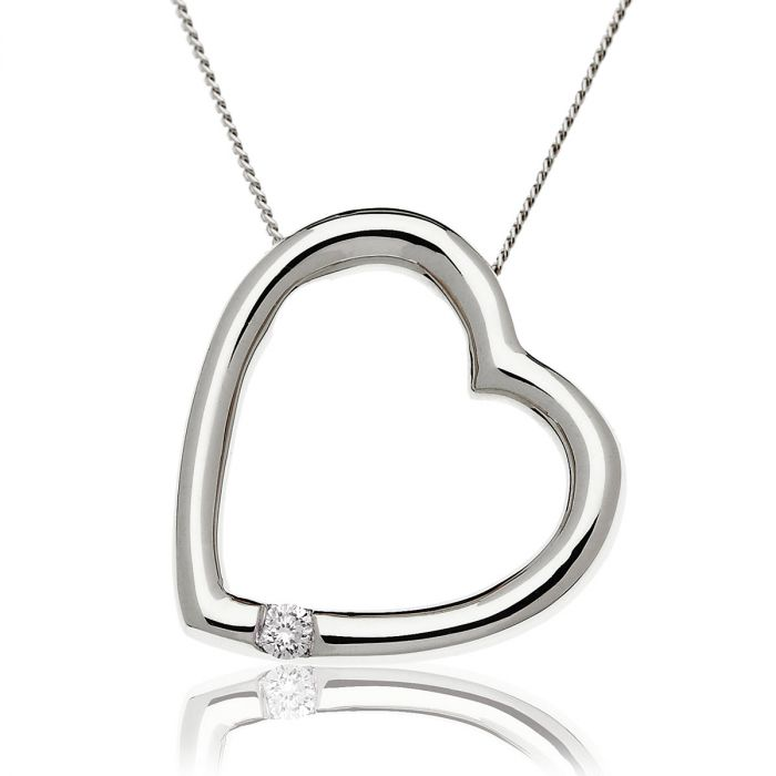 Heart Shaped Single Diamond Pendant