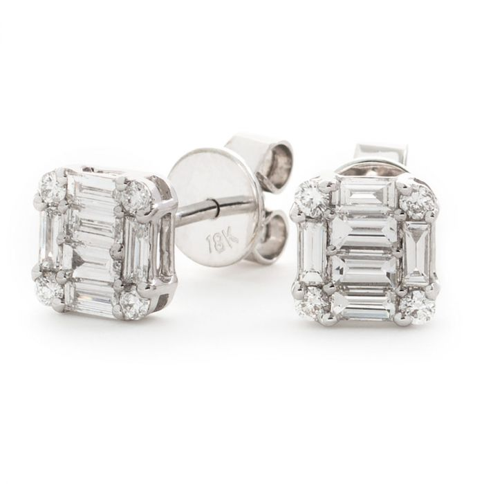 Round And Baguette Cuts Diamond Earrings Studs