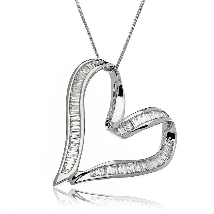 Classic Baguette Diamond Heart Pendant