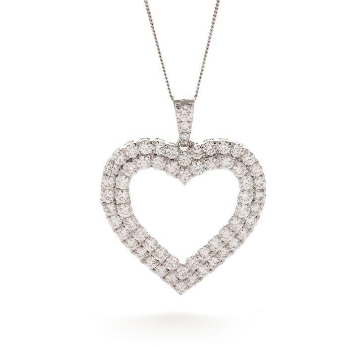 Double Row Round Diamond Heart Pendant