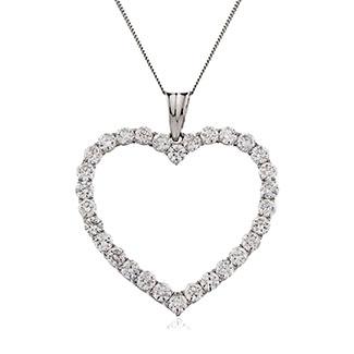 Classic Round Diamond Heart Pendant