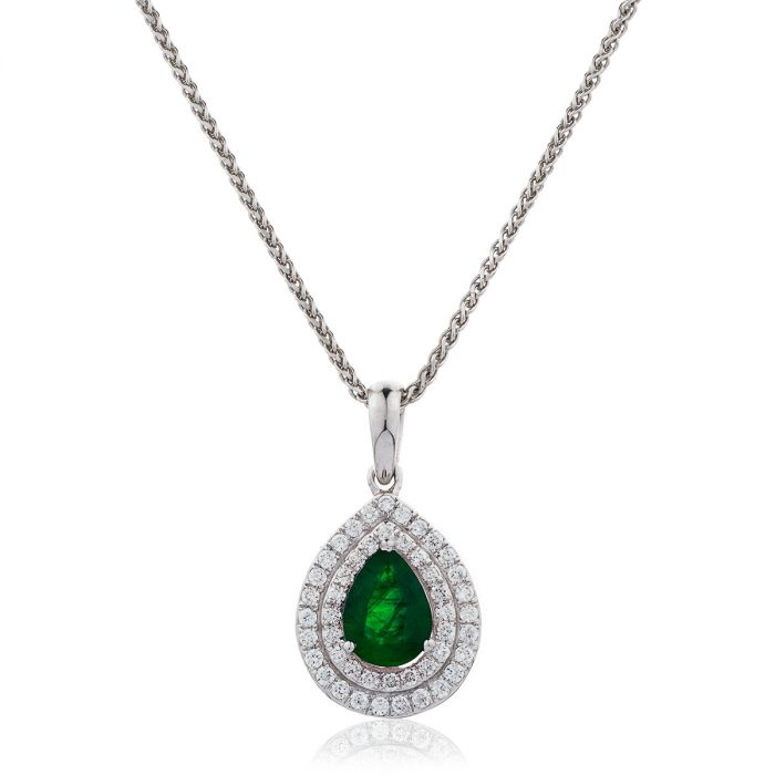 Double Halo Pear Shape Emerald Pendant