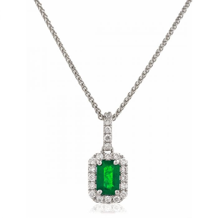 Green Emerald Diamond Halo Pendant