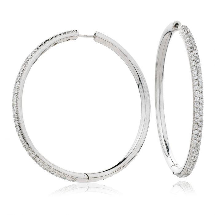 Pave Set Diamond Hoops Earrings
