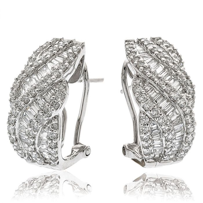 Round And Baguette Cut Cross Over Diamond Hoops Earrings