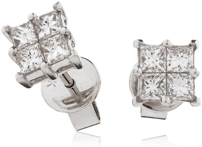Princess Cuts Diamond Earrings Studs