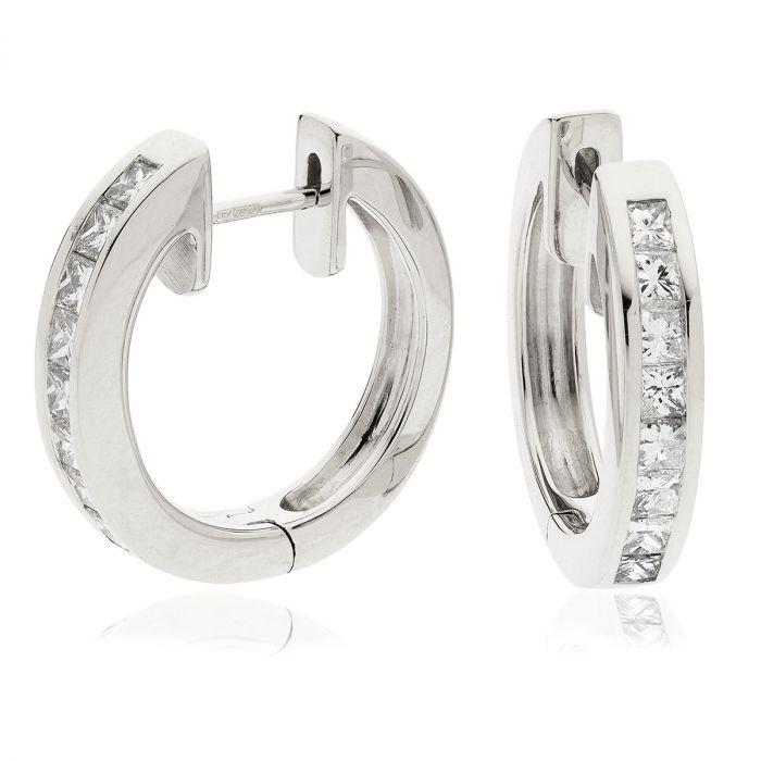 Channel Set Princess Cuts Hoops Diamond Earrings