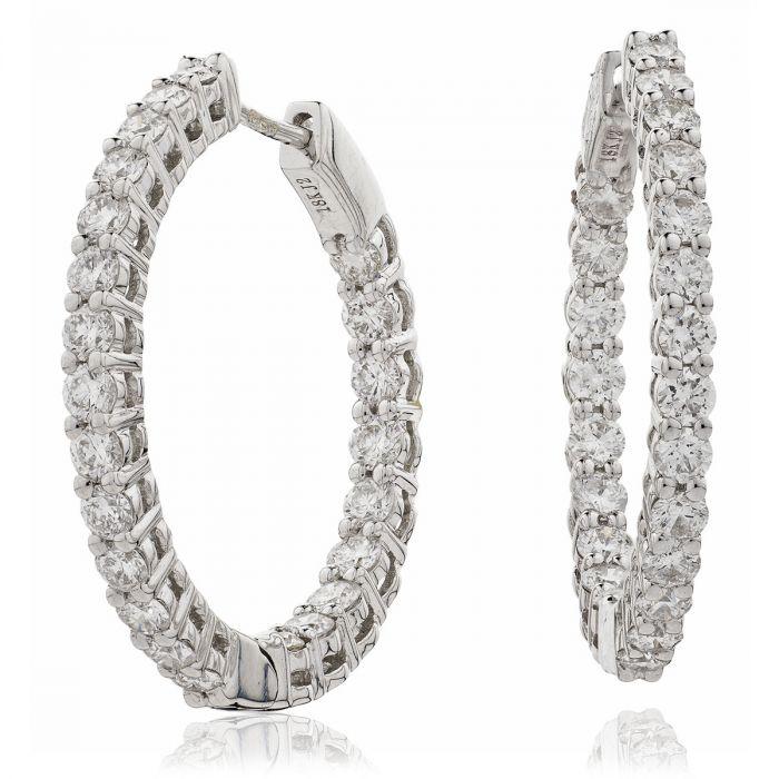 Claw Set Diamond Hoops Earrings