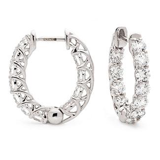 Claw Set Round Shape Hoops Diamond Earrings