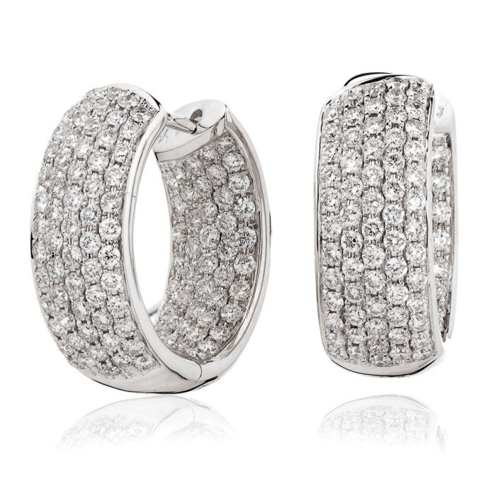 5 Row Pave In And Out Diamond Hoops Earrings