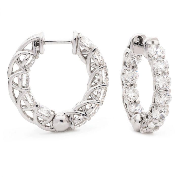 Claw Set Hoops Diamond Earrings