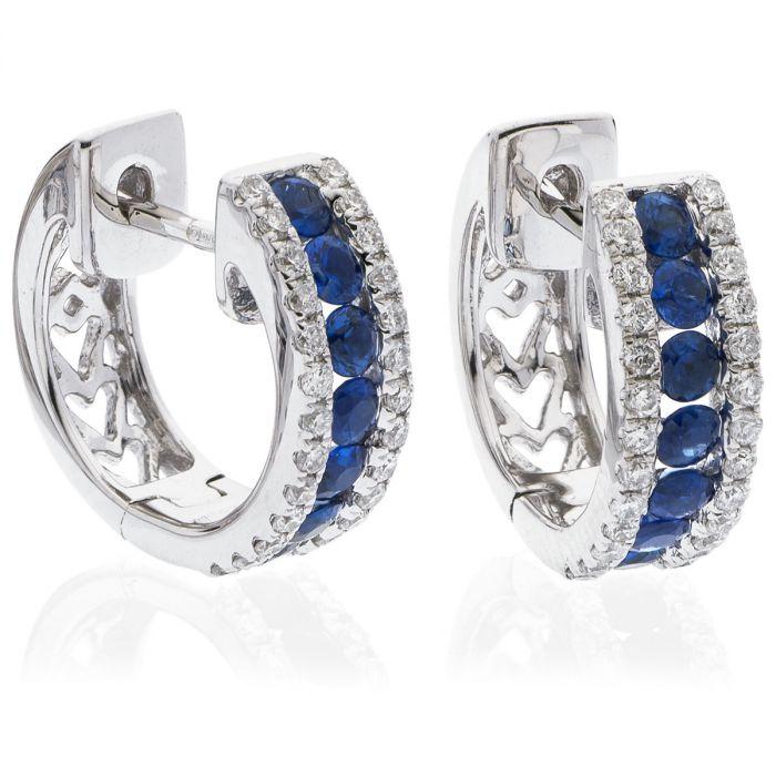3 Row Round Pave Blue Sapphire Hoops Diamond Earring