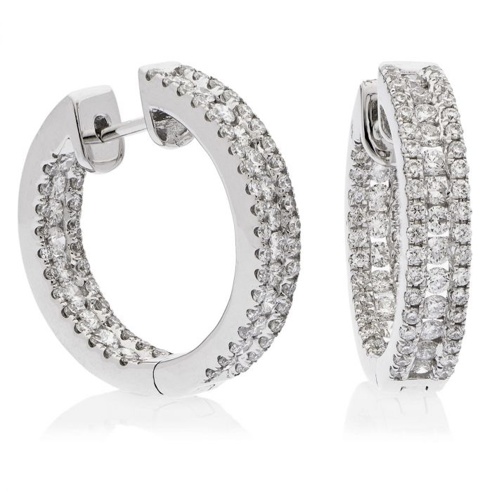 3 Row Pave In And Out Round Diamond Hoops Earrings