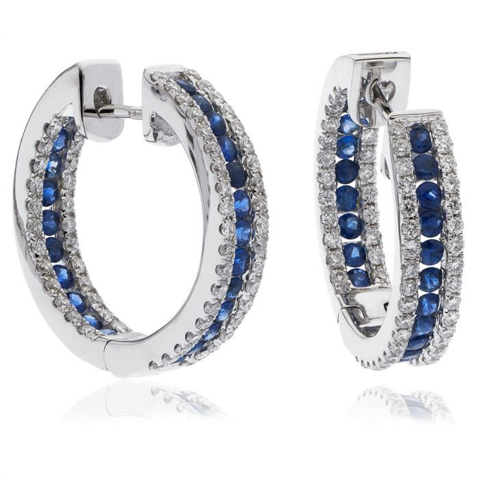 3 Row Pave Sapphire In And Out Hoops Diamond Earring