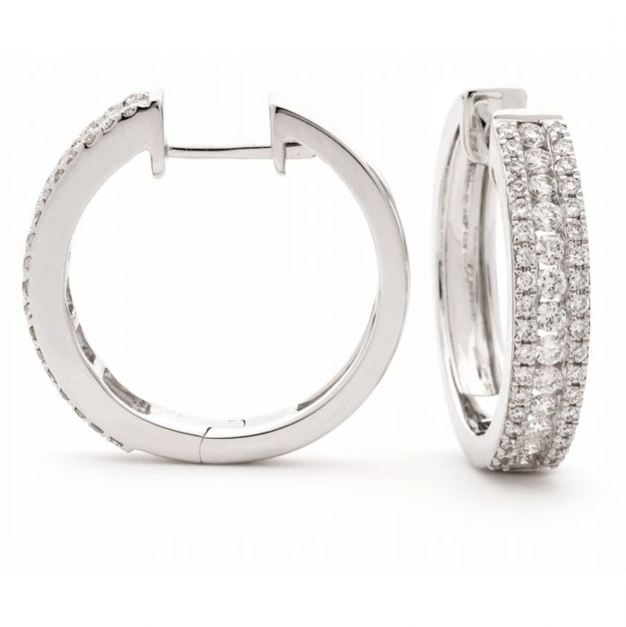 3 Row Round In And Out Diamond Hoops Earrings
