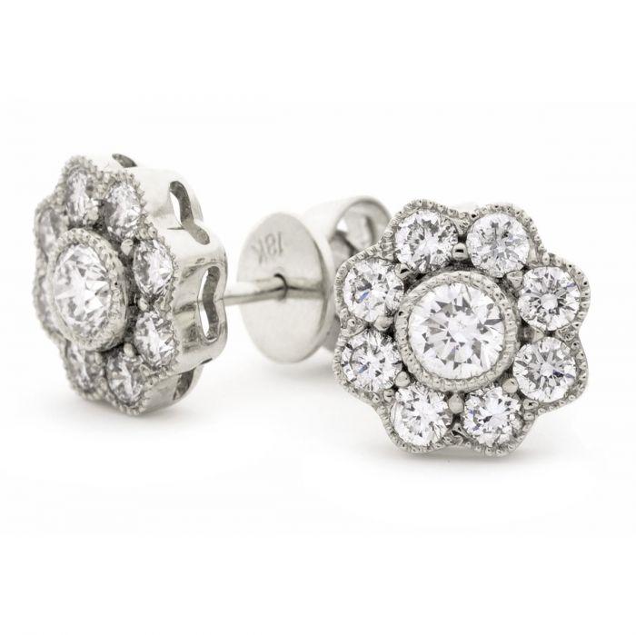 Flower Shape Grain Set Diamond Earring Studs