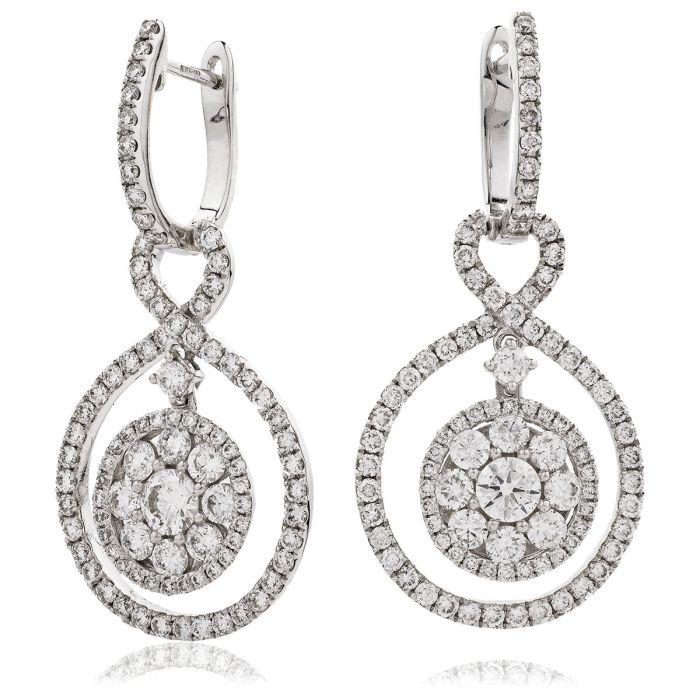 Open Double Halo Drop Hoops Diamond Earrings