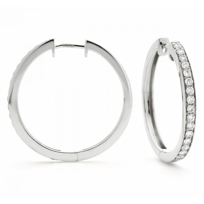 Grain Set Diamond Hoops Earrings