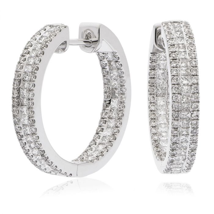 3 Row Princess Cut In And Out Diamond Hoops Earrings