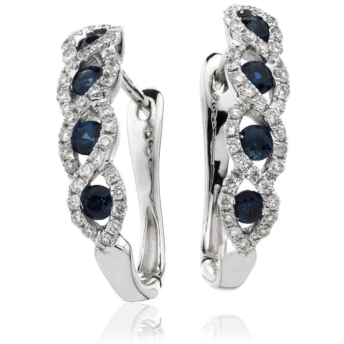 Blue Sapphire Wave Set Diamond Hoop Earring