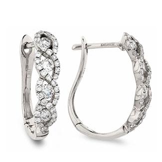 Wave Set Hoops Diamond Earrings