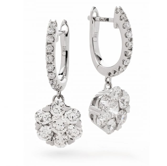 Pave Drop Hoops Diamond Earring