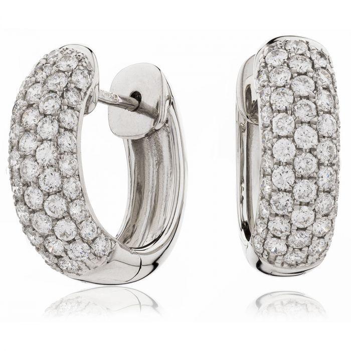 5 Row Pave Hoops Diamond Earrings