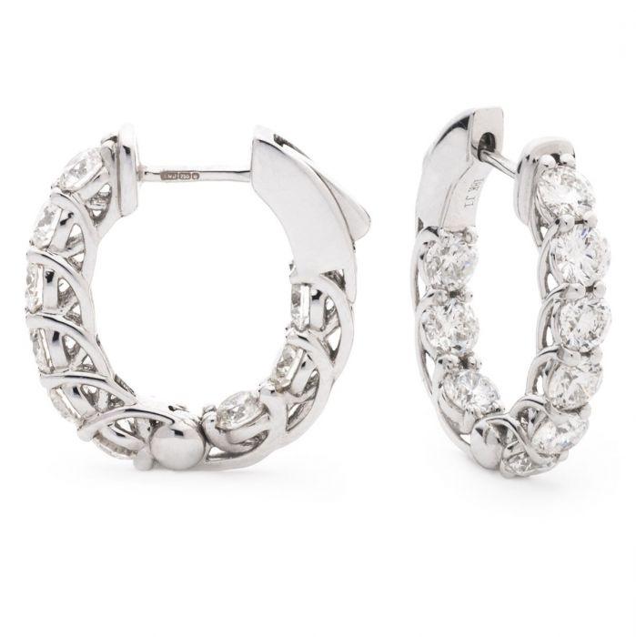 Round Claw Set Hoops Diamond Earrings