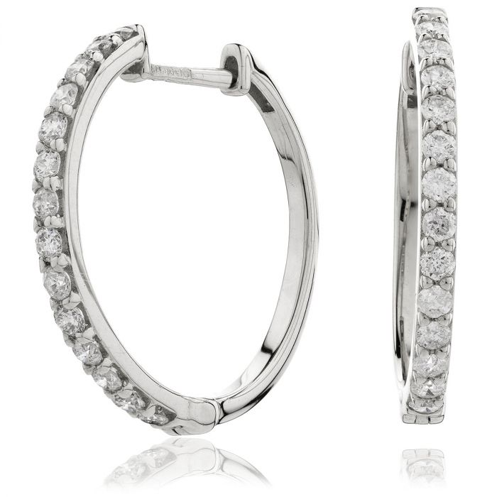 Round Micro Set Diamond Hoops Earrings