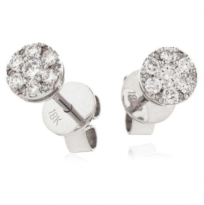Small Pave Set Diamond Earring Studs