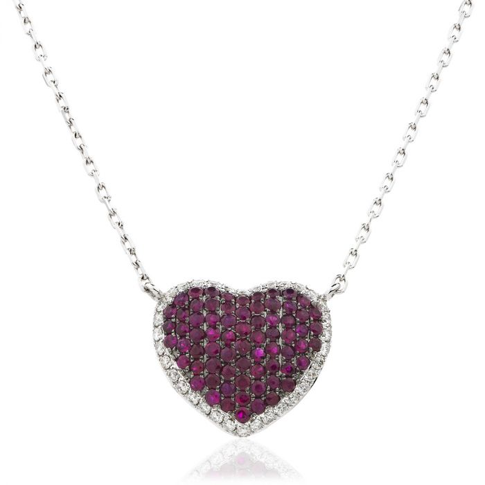 Fixed Pave Ruby Diamond Heart Pendant