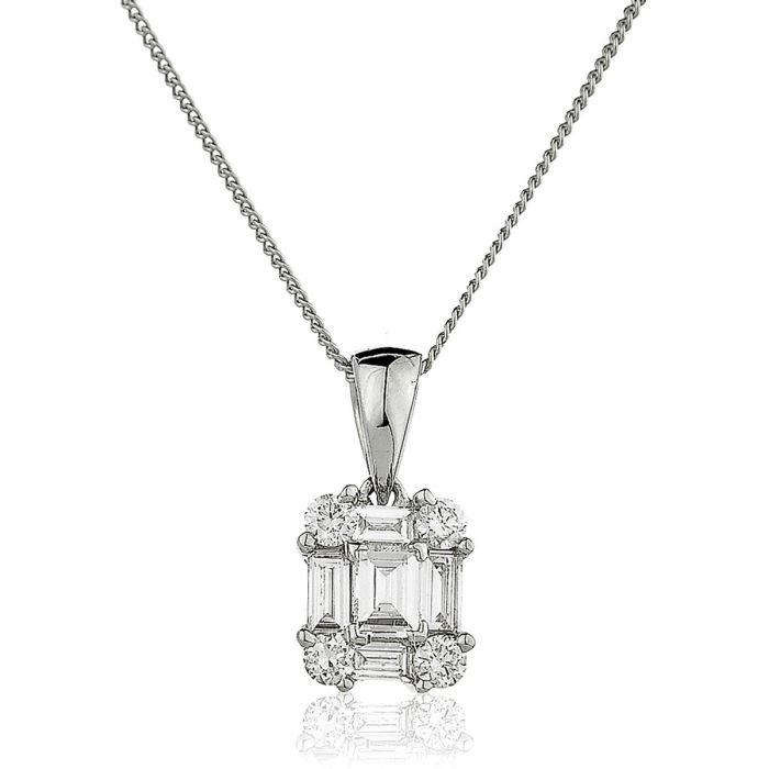Round Baguette Cuts Diamond Pendant