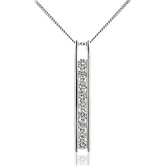 Bar Set 9 Stone Drop Diamond Pendant