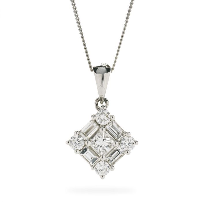 Princess Cut Round Baguette Cuts Diamond Pendant