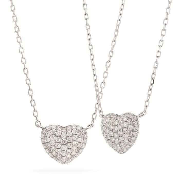 Heart Shaped Fixed Pave Diamond Necklace