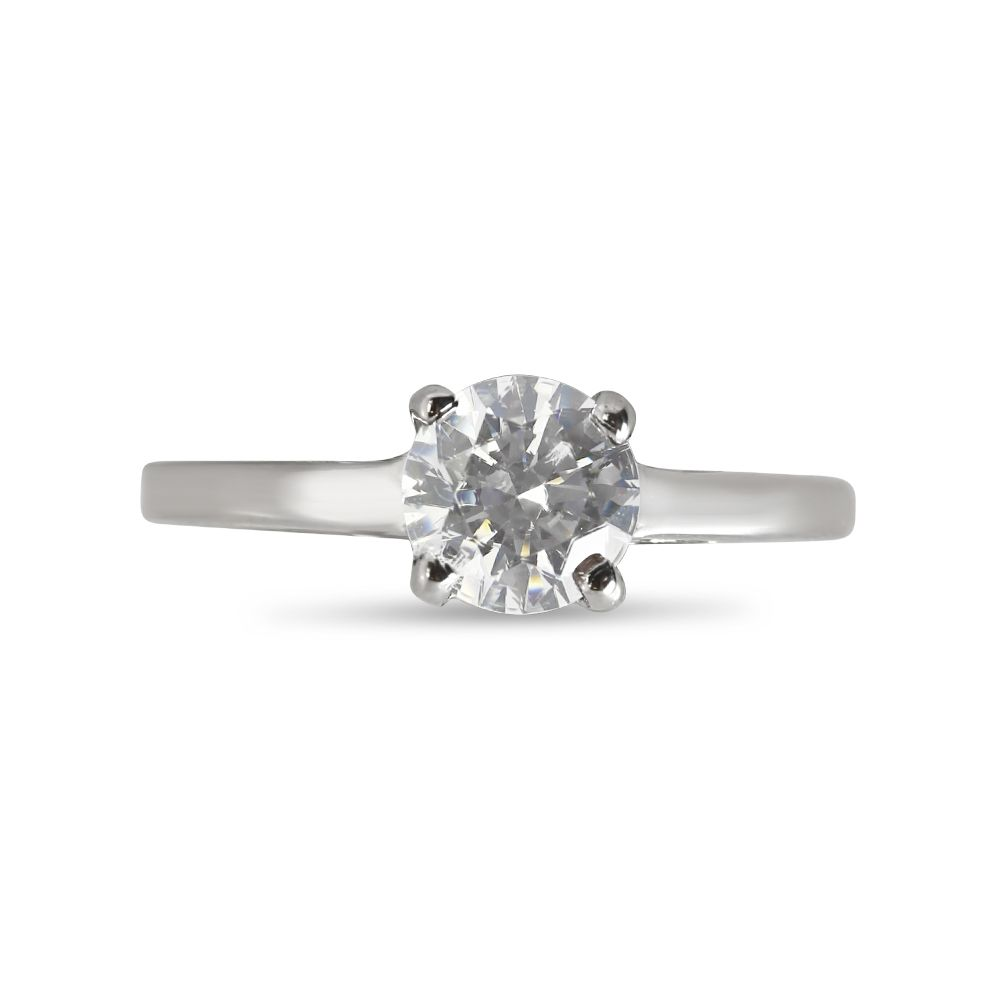 Four Claw Solitaire Plain Straight Band Engagement Ring