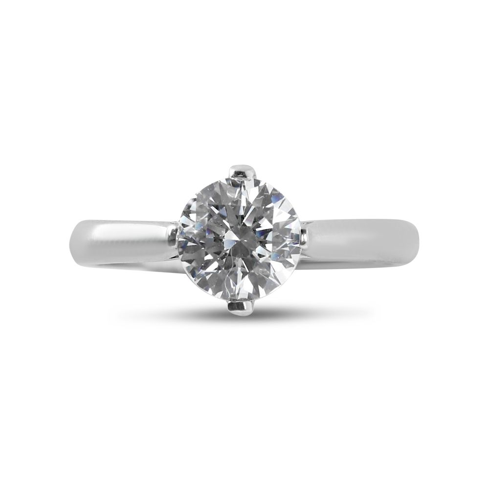 North East West South Four Claw Tapered Solitaire Diamond Engagement Ring