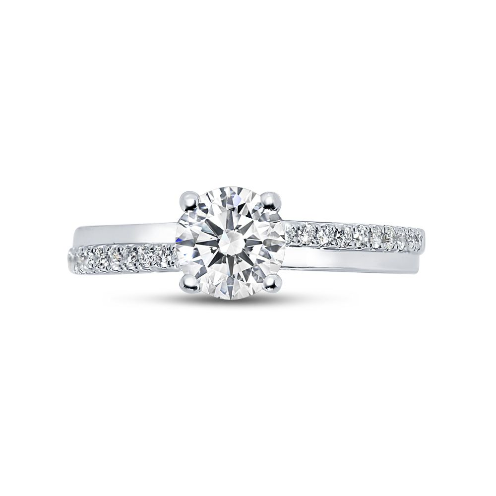 Four Prong Set Round Brilliant Solitaire Engagement Ring