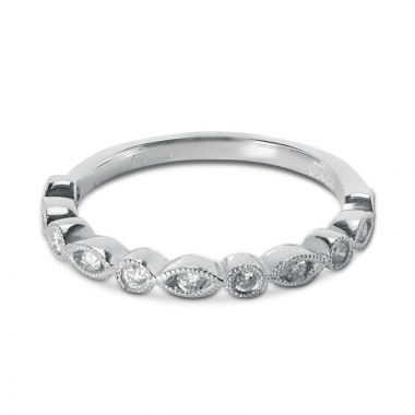 0.17ct Decorative Diamond Setting Half Band Diamond Wedding Ring