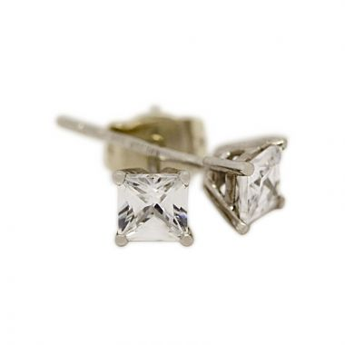 18kt White Gold Four Claw 0.50ct Total Princess Cut Diamond Earring Studs