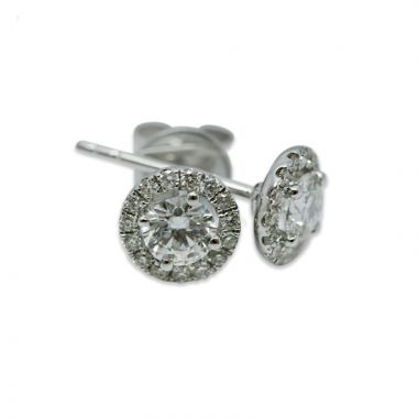 18kt White Gold Round Halo 0.70ct Total Diamond Earring Studs