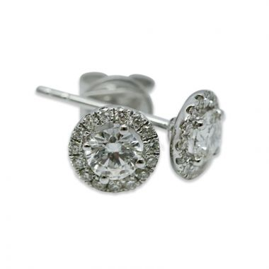 18kt White Gold Round Halo 1 Carat Total Diamond Earring Studs