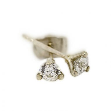 18kt White Gold Three Claw 0.20ct Total Diamond Earring Studs