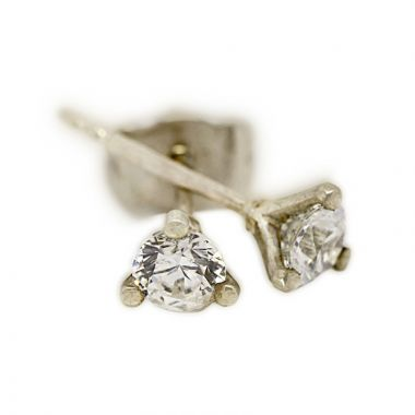 18kt White Gold Three Claw 0.50ct Total Diamond Earring Studs