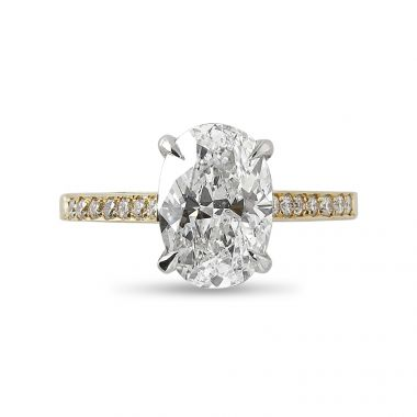 18kt Yellow Gold and Platinum Prongs Oval Cut Diamond Engagement Ring Top View