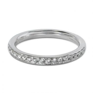 2.5mm Grain Set Ring Half Band Diamond Wedding Ring