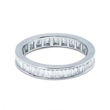 3.5mm Baguette Cut Channel Setting Full Diamond Eternity Ring